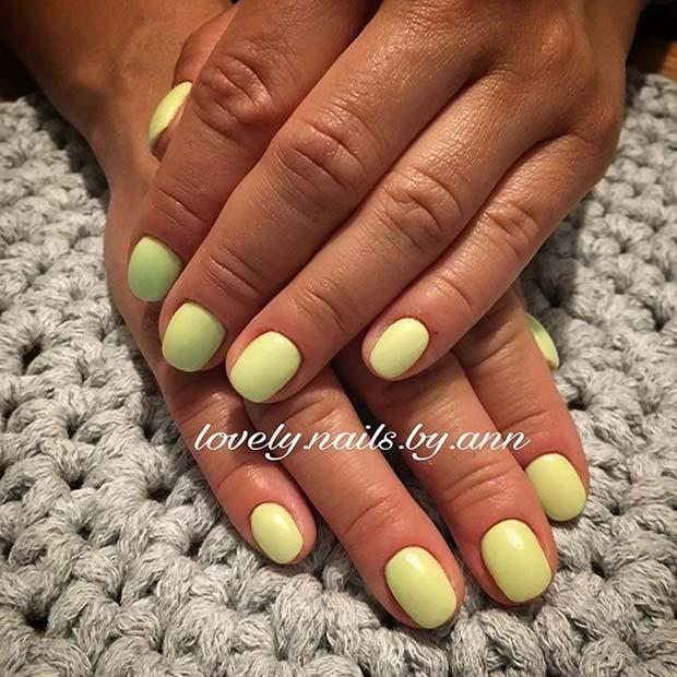 Pastel Yellow Short Nails for Summer Nails Idea