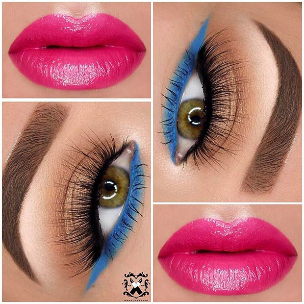 Blue Eyeliner and Pink Lip Color for Summer Makeup Ideas