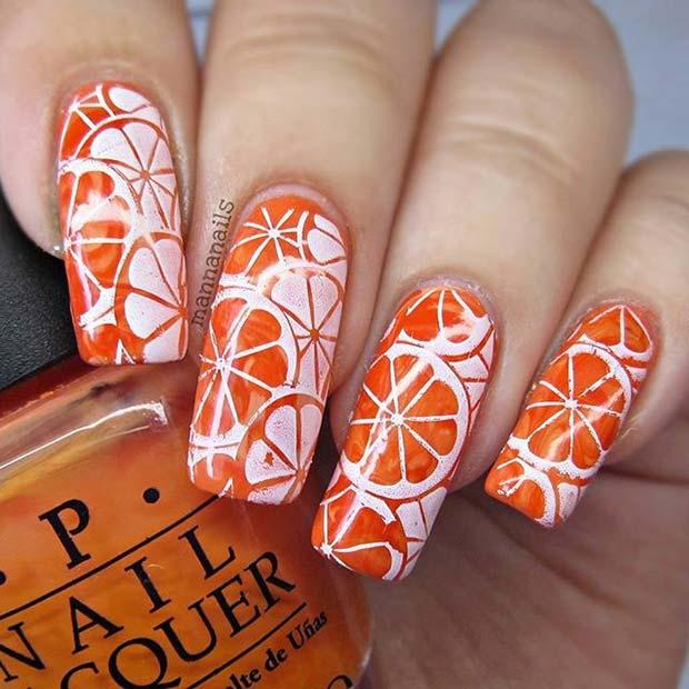 Zesty Orange Design for Summer Nail Ideas