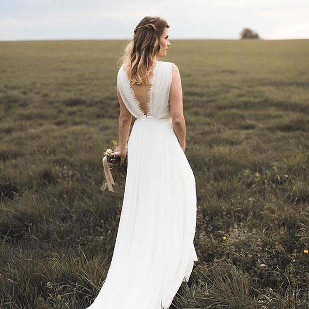 Pretty Open Back Dress for Summer Wedding Dresses for Brides