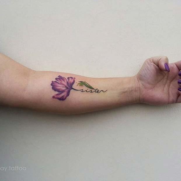 Floral Design for Sister Tattoos