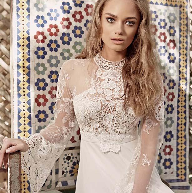 Boho Lace Sleeved Dress for Summer Wedding Dresses for Brides