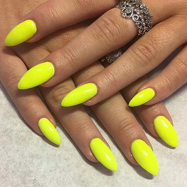 Almond Shape Vibrant Yellow Nail Design For Summer Ideas