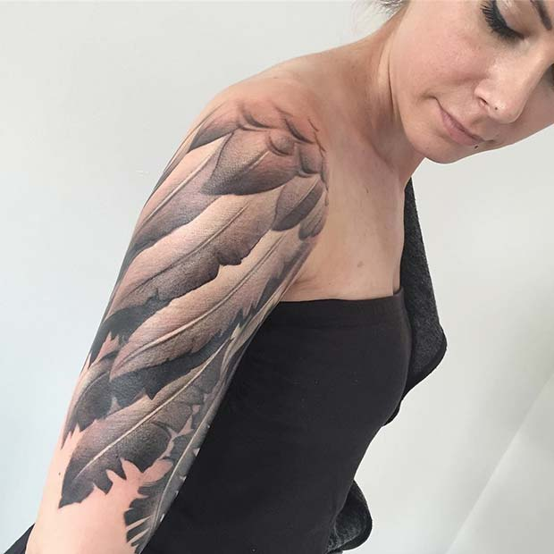 Wing Sleeve for Badass Tattoo Idea for Women