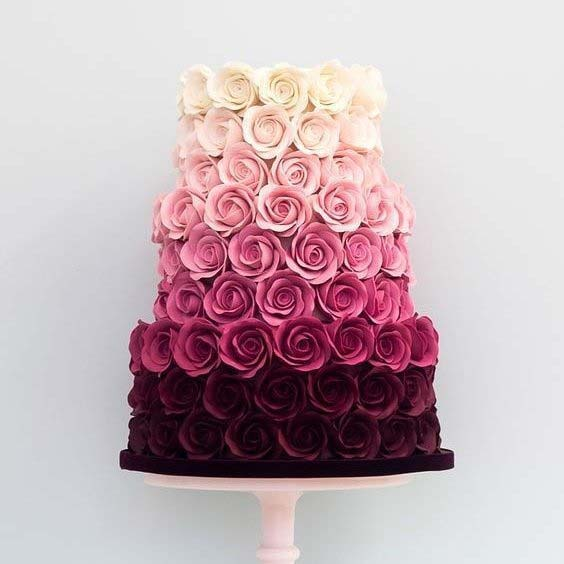 Ombre Rose Cake for Summer Wedding Cakes