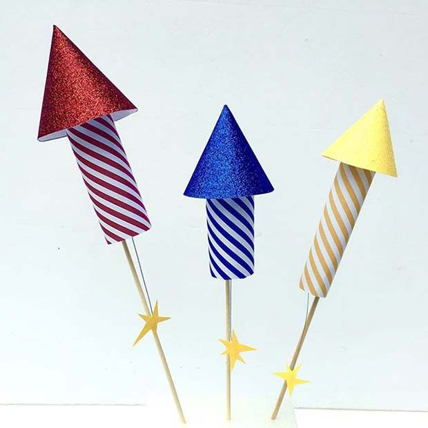 4th of July Rocket Firework Cake Topper for a 4th of July Party Idea