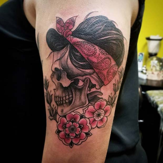 Rockabilly Skull for Badass Tattoo Idea for Women