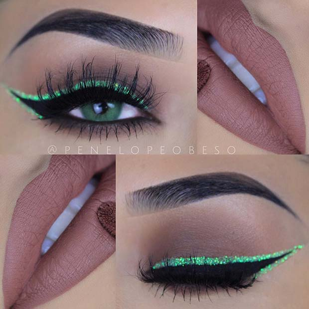 Green Glitter Eyeliner for Summer Makeup Ideas