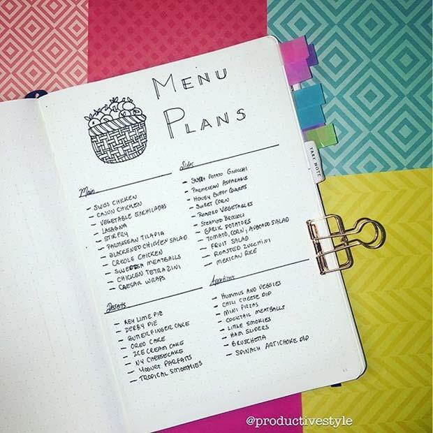 Meal / Menu Planner for Bullet Journal Ideas
