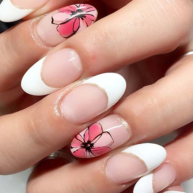 French Manicure with Floral Accent Nail for Summer Nails Idea