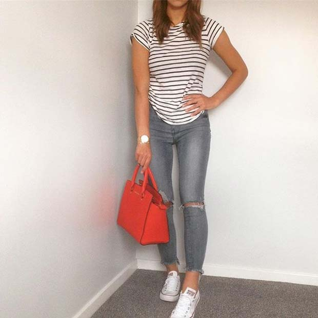 Jeans, Sneakers and t-shirt for Casual Summer Outfits