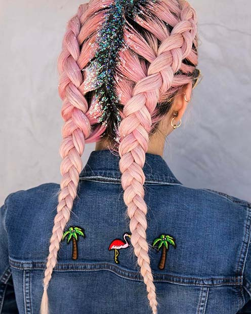 Double Dutch Braids with Glitter