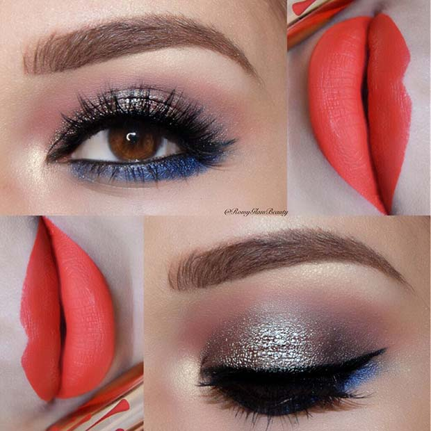 Glitter Eyes and Bold Lips for Summer Makeup Ideas