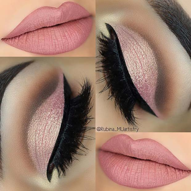Soft Pink Eyes and Lips for Summer Makeup Ideas
