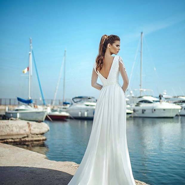 Glamorous Lace Sleeve Dress for Summer Wedding Dresses for Brides