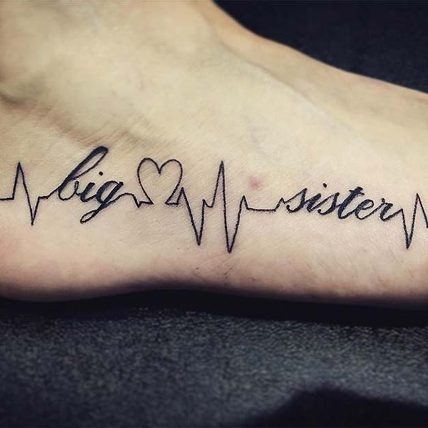 Big Sister Foot Tattoo for Sister Tattoos