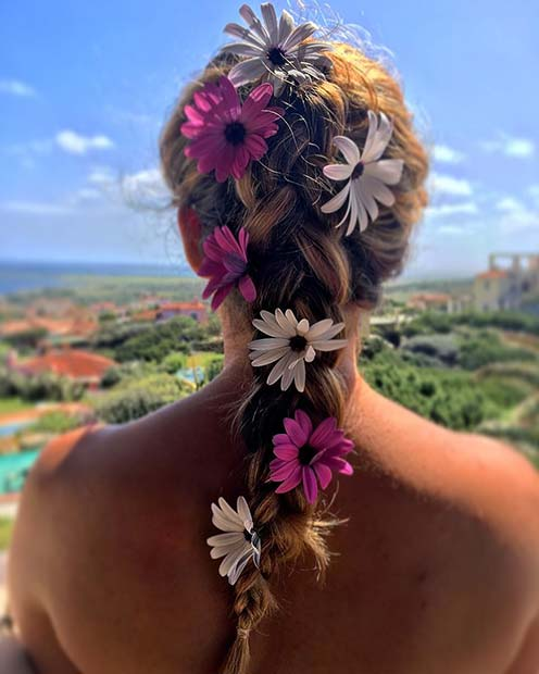 Floral Braid Hairstyle for Summer
