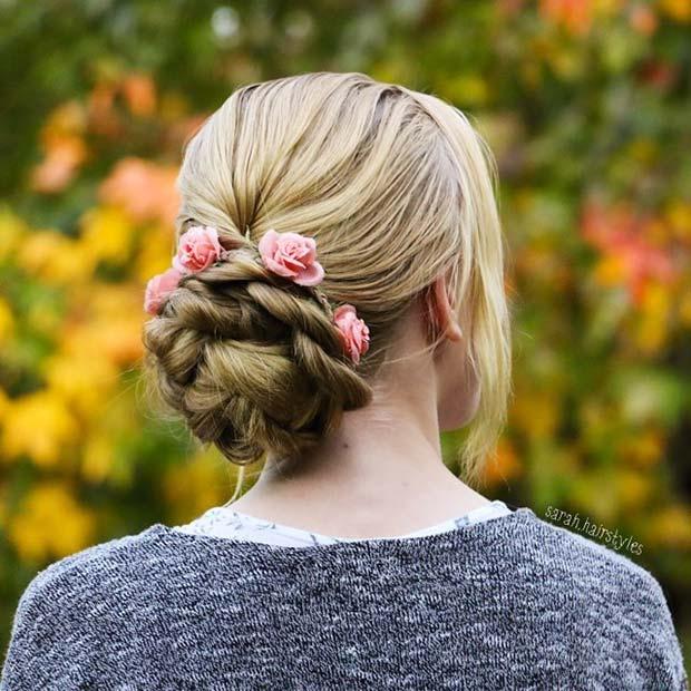 Floral Bun for Bridesmaid Hair Ideas