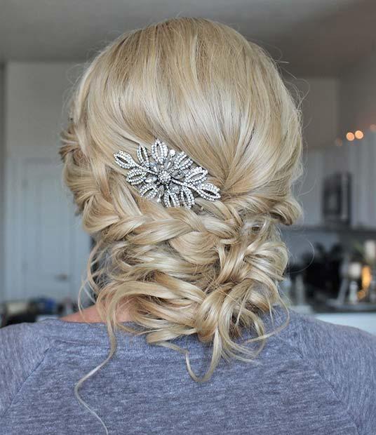 Accessorized Braided Updo for Bridesmaid Hair Ideas