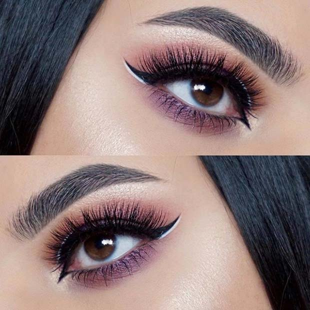 Black and White Winged Eyeliner for Summer Makeup Ideas