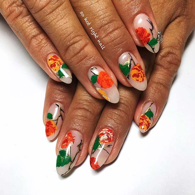 Orange Floral Nail Art for Summer Nails Idea
