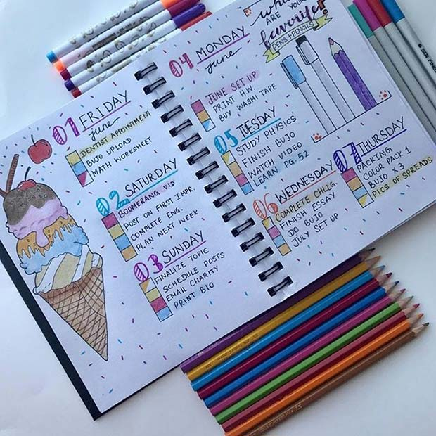 Cute Weekly Planner Page for Bullet Journal Ideas