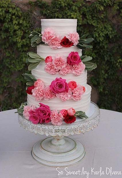 Beautiful White And Pink Wedding Cakes