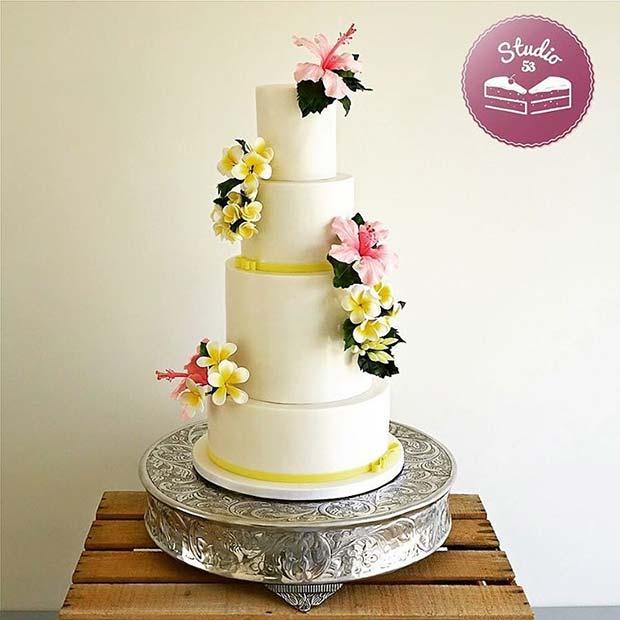 Tropical Flower Cake for Summer Wedding Cakes