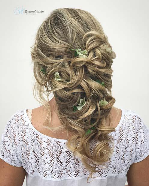 Curly Floral Hair Style for Bridesmaid Hair Ideas