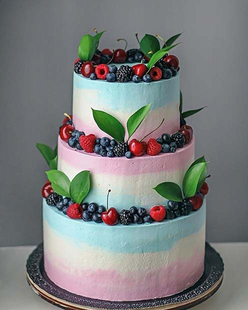 Multi Color Berry and Cherry Cake for Summer Wedding Cake