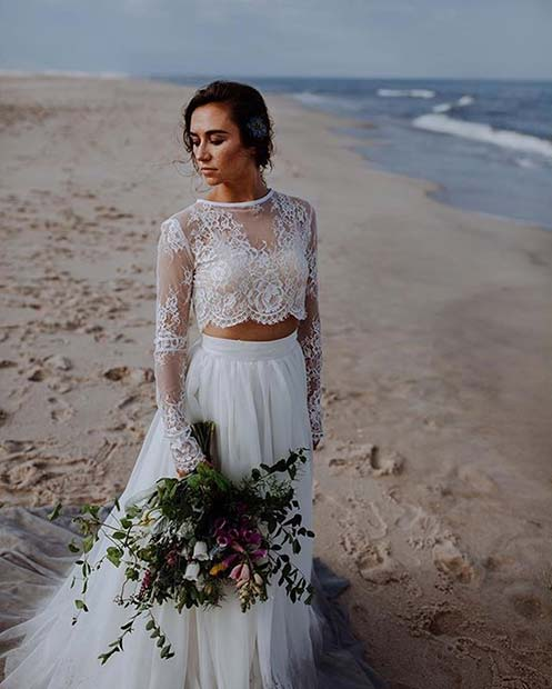 Wedding Crop Top and Skirt for Summer Wedding Dresses for Brides