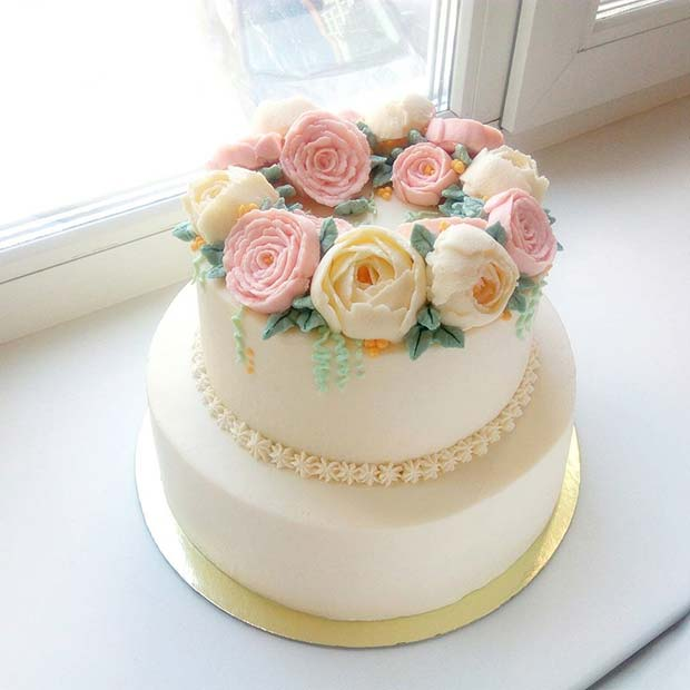Elegant Two Tier Cake with Soft Florals for Summer Wedding Cakes