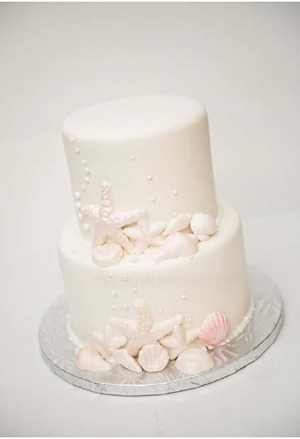 Beach Wedding Shell Cake for Summer Wedding Cakes