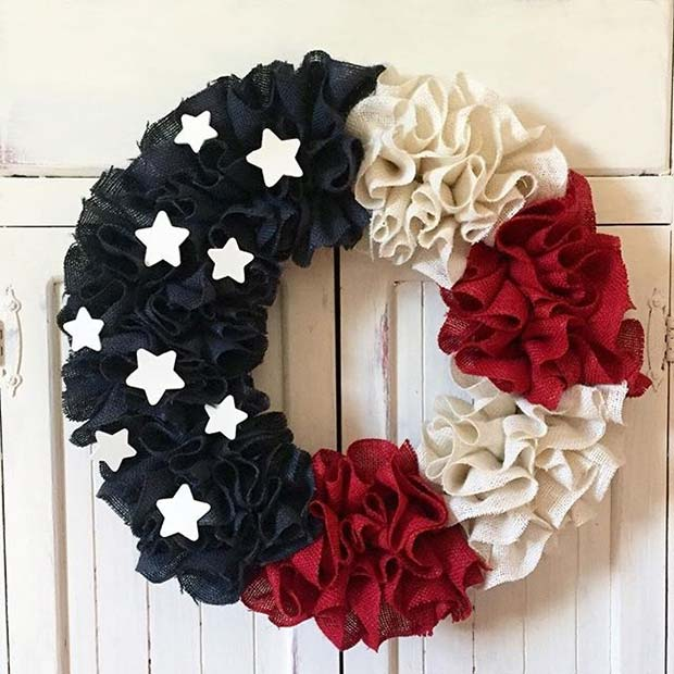 Stars and Stripes Decorative Wreath for 4th of July Party Ideas