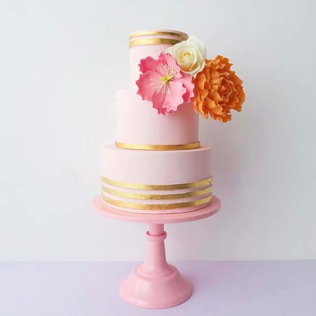 Cute Pink and Gold Floral Cake for Summer Wedding Cakes