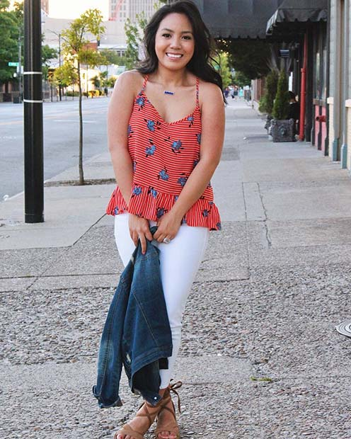 Cute Top and Denim Jacket for Casual Summer Outfits