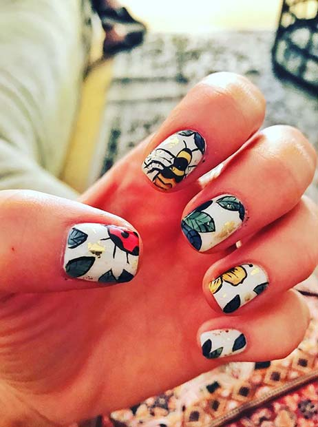 Summer Bee Nail Art for Summer Nails Idea