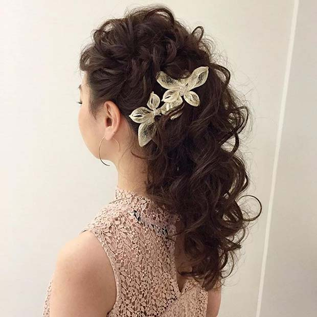 Curled Updo with Accessory for Bridesmaid Hair Ideas