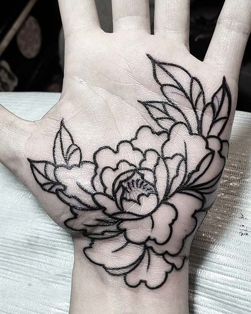 Floral Palm Tattoo for Badass Tattoo Idea for Women