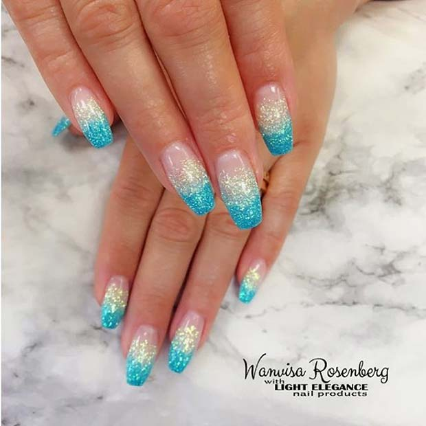 Blue Ombre Glitter Nails for Summer Nails Idea