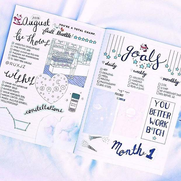 Monthly Wishes and Goals Page for Bullet Journal Ideas