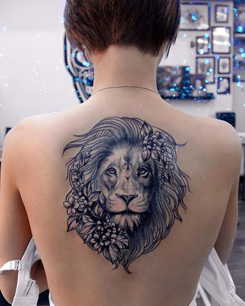Lion Back Tattoo for Badass Tattoo Idea for Women