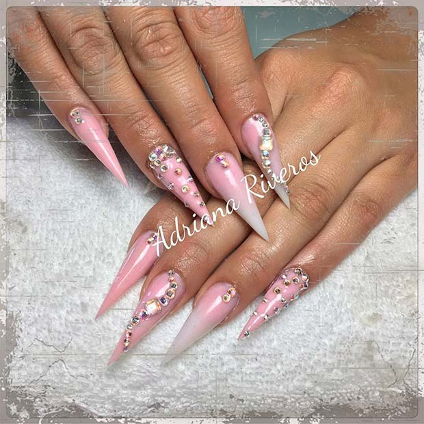 Light Pink and Crystal Pointy Nails