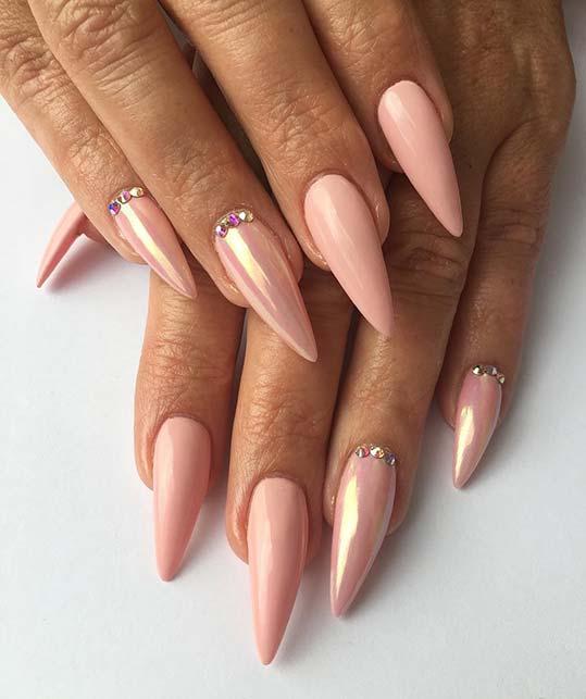 Elegant Pointy Metallic Nails