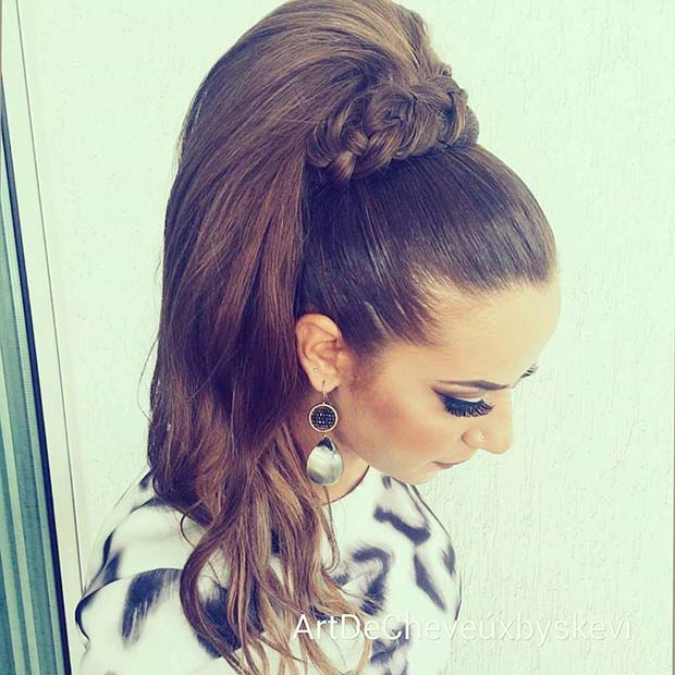 Glamorous High Ponytail with Braided Wrap for Elegant Ponytail Hairstyles