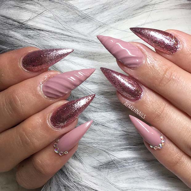 Pink Glitter Pointy Nails