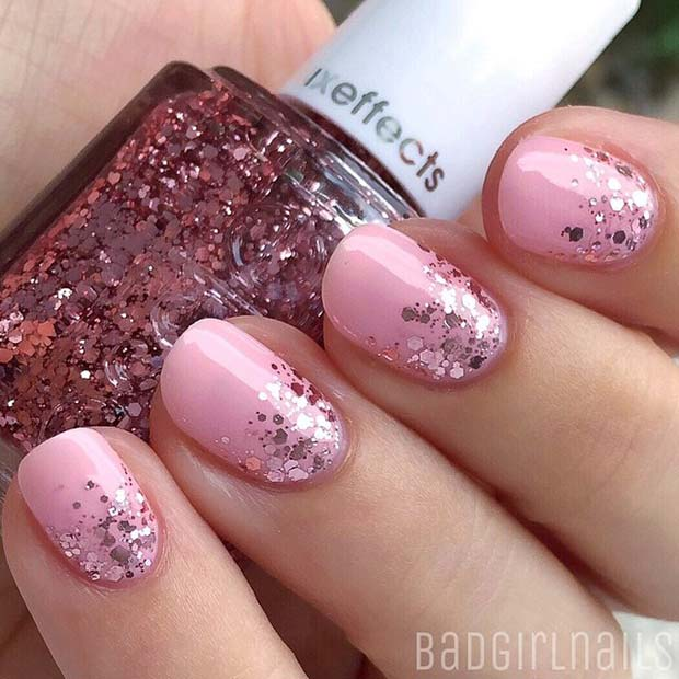 21 elegant nail designs for short nails stayglam light pink and glitter for elegant nail designs for short nails prinsesfo Choice Image