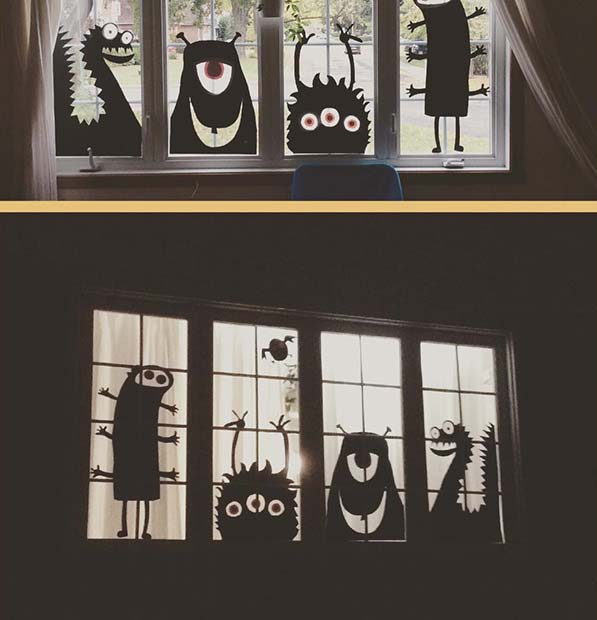 Window Monsters for DIY Halloween Decor