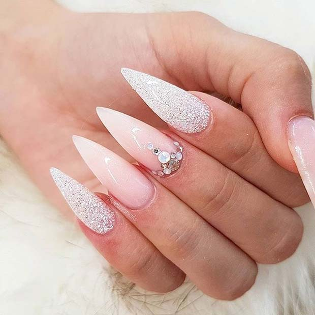 Nude and Silver Glitter Pointy Nails