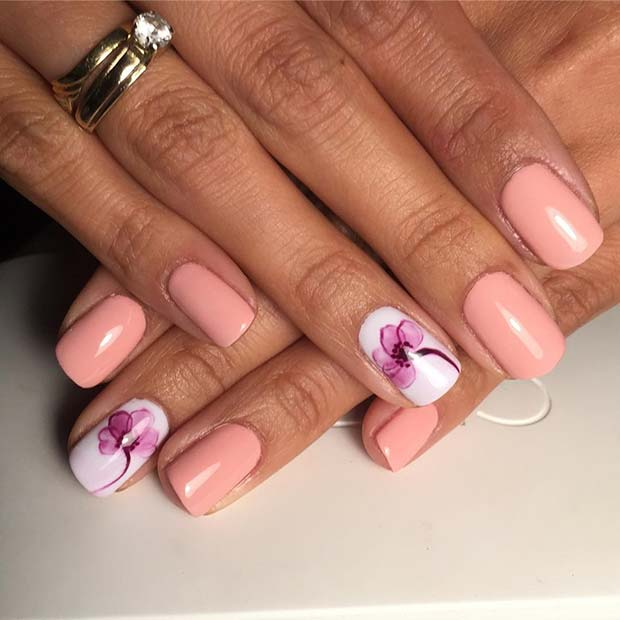 21 elegant nail designs for short nails stayglam floral accent nail for elegant nail designs for short nails prinsesfo Choice Image